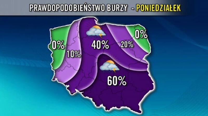 Prawdopodobieństwo wystapienia burz 11.07      TVN Meteo
