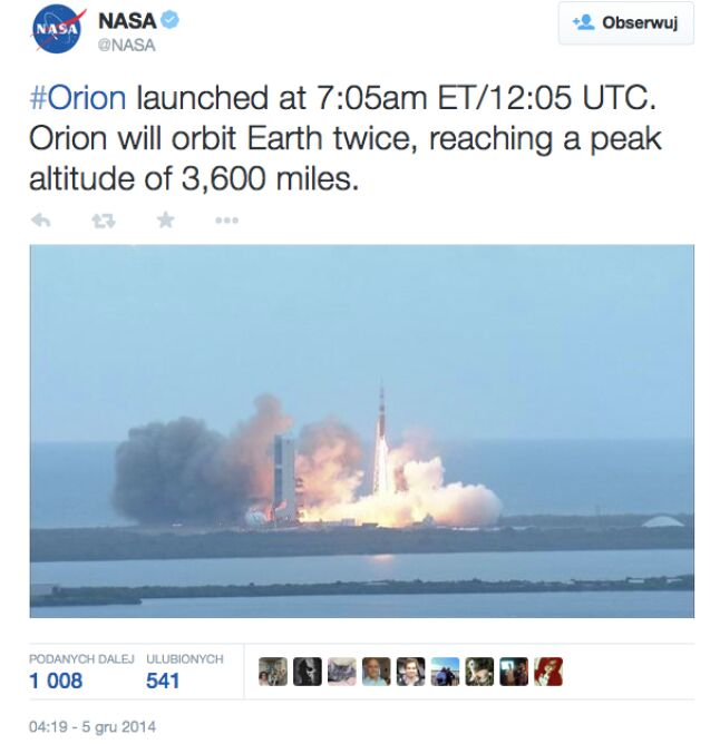 Orion już wystartował
