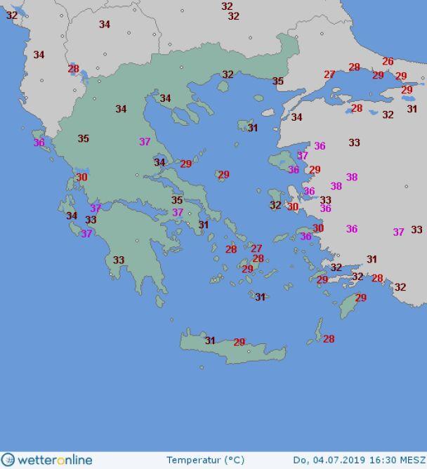 Temperatura w Grecji o godzinie 16.30 4 sierpnia (wetteronline.de)