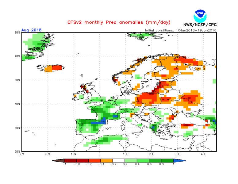 Odchylenie opadów od średniej dla sierpnia (NOAA)