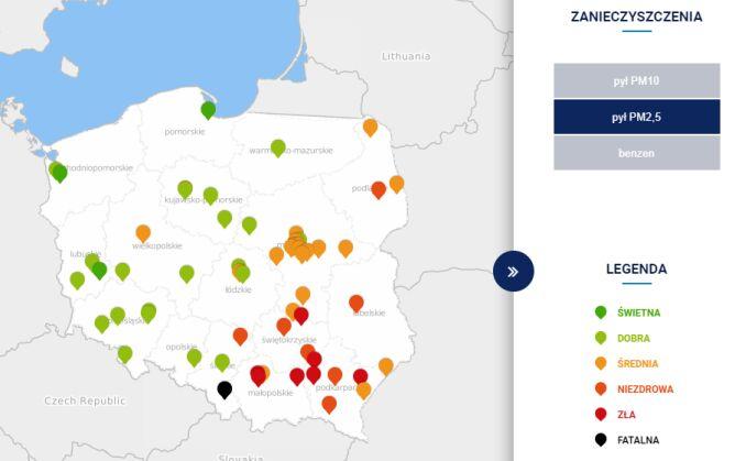 Stężenie pyłów PM2,5 o godzinie 19 (tvnmeteo.pl za GIOŚ)