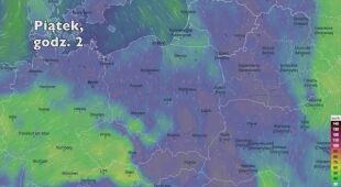 Prędkość porywów wiatru w kolejnych dniach (Ventusky.com | wideo bez dźwięku)